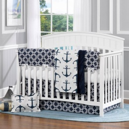 attractive-comfortable-baby-room-furniture-nautical-theme-baby-room-white-wooden-baby-crib-white-navy-blue-colors-bumper-pad-anker-picture-theme-pattern-blanket-oval-shape-blue-woven-rug-comfortable