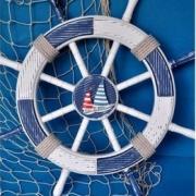kolo bialo-granatowa morska dekoracja