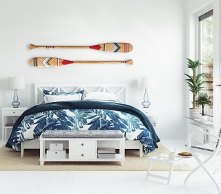 White tropical bedroom interior, Coastal style, 3d render