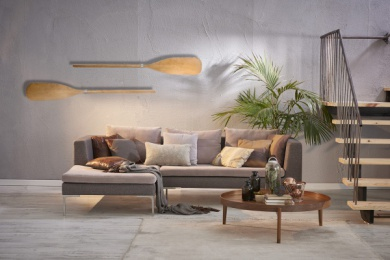 modern interior grey background sofa pillows and coffee table with stairs