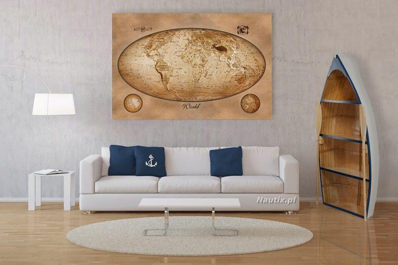 Modernes Interior von Wohnzimmer mit Foto auf Leinwand